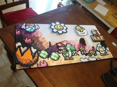Just finished my project after a month. What do you guys think? Perler Bead Templates, Diy Perler Beads, Pearler Beads, Fuse Beads, Nerd Crafts, Diy Arts And Crafts, Mario Yoshi, Mario Bros, Pixel Art