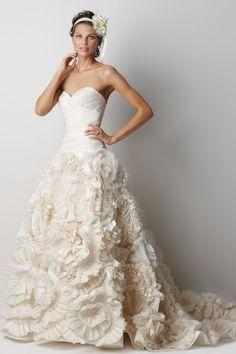 Strapless gown with a scultped skirt.    #watters #weddingdress http://www.pinterest.com/wattersdesigns/