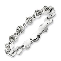 Sterling Silver Stackable Expressions Polished Diamond Ring  Style: QSK648.  Sale Price $275.  Sizes 5-6-7-8-9-10.