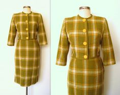 ✦ 1960s Mod CHARTREUSE PLAID Skirt Suit by LolaVintage on Etsy. lolavintage.com
