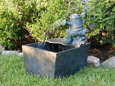 Watering Can Outdoor Fountain with Planter