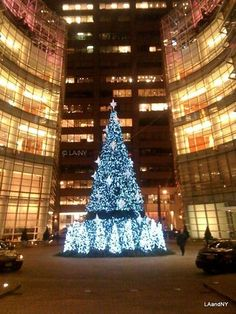 #christmas #tree #holiday #decorations #nyc #bloomberg #building #lights #ornaments