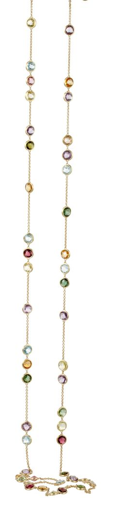 Pink and green tourmaline, blue topaz, amethyst, quartz and citrine 92cm necklace set in 18ct yellow gold, JAIPUR by Marco Bicego. http://nigelmilne.co.uk/products/jaipur-gemstone-necklace-by-marco-bicego2 #Jaipur #Gemstone #Tourmaline #Citrine #Quartz #Amethyst #Green #Pink #Gems #Jewellery #Gemmology #Necklace #Chain #Italian #Italy #Jewellery #London #topaz #earrings #ring #bracelet #Piccadilly