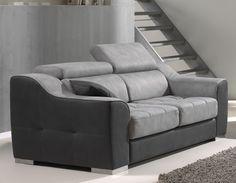 Canapé 2 places gris en tissu POMOTA