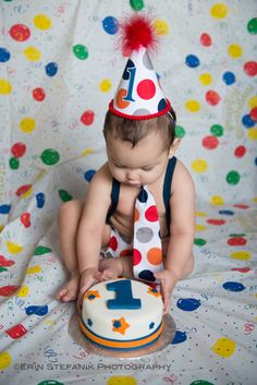 Baby boy / Toddler Cake Smash Birthday Outfit including a necktie suspenders diaper cover & party hat in Navy Orange Grey Jumbo Dot. $57.85, via Etsy.