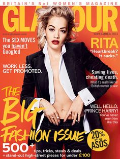 "Rita Ora, Glamour UK from September 2014 Magazine Covers Rita may ""not [be] doing too great"" post-breakup from Calvin Harris, but she does look great on her Glamour UK cover."