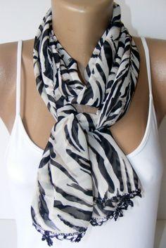 SALE chiffon scarf with lace new shawl neckwarmer cowl by seno, $15.00