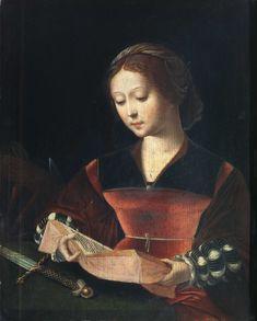 Title: Saint Catherine Author: Master of the female half-lengths (1525-1550)  Date: 1530 Medium: Oil on panel Dimensions: cm 45 x 36 Current location: Pinacoteca di Brera, Milan