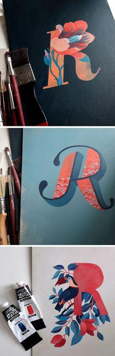 Illustrated letter R by Eleonora Kolycheva // handlettering