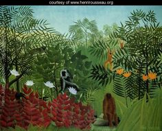Tropical Forest With Apes And Snake - Henri Julien  Rousseau - www.henrirousseau.org