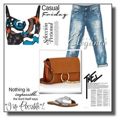 Casual Friday by Nara Puera on Polyvore featuring Isa Arfen, Sans Souci, Nine West, Chloé and WALL, jeans, bustier top, women, small, shoulder bag, slide sandals, fashionable, set, polyvore, outfit, look of the day, hot in the city, milan, nyc, tokyo, pasir, fashion week, street style, chic, fabulous, beautiful, simlicity, impossible, love, Baku, Azerbaijan