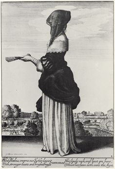 Wenceslas Hollar (1607-1677 Czech) • Jahreszeiten - Sommer (Stehende, verschleierte Frau im Profil, mit Fächer)