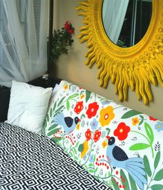mirror over bed Mirror Over Bed, Mirror Mirror, Yellow Mirrors, French Mirror, Cute Cottage, Granny Chic, Fabric Birds, Hello Sunshine, Happy Colors