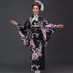 Fashion National Trends Women Sexy Kimono Yukata With Obi Novelty Evening Dress Japanese Cosplay Costume Floral One Size Kimono Yukata, Japanese Kimono Dress, Japanese Costume, Japanese Yukata, Traditional Japanese Kimono, Traditional Dresses, Japanese Female, Japanese Style, Costume Fleur