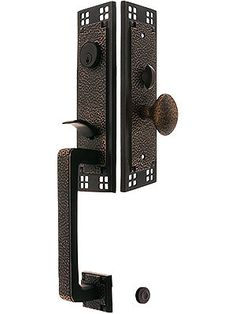 Arts & Crafts Style Tubular Handleset in Oil Rubbed Bronze with Hammered Egg Knobs and 2 Backset Exterior Doors, Entry Doors, Front Doors, Front Entry, Door Entryway, Entryway Ideas, Exterior Paint, Antique Hardware, Home Hardware