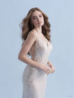 This Ariel-inspired gown is playful, yet elegant. A subtle flared train is reminiscent of a mermaid's silhouette, while sparkling sequins mimic the play of light across the moonlit sea. Disney Inspired Wedding Dresses, Ariel Dress, Bridal And Formal, Wedding Honeymoons, Wedding Dress Sizes, Formal Gowns, Bridal Gowns, Dream Wedding, Wedding Stuff