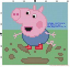 George - Peppa Pig pattern by Monica Cross Stitch Cards, Cross Stitch Baby, Cross Stitching, Cross Stitch Patterns, Knitting Paterns, Baby Knitting, Knitting Charts, Peppa Pig Family, George Pig
