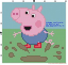 Schema punto croce George Pig sul fango (click to view)