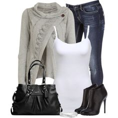 """""""Gray Button Sweater"""" by denise-schmeltzer on Polyvore"""
