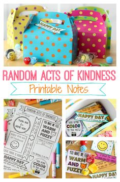 Random Acts of Kindness Day is February 17th. Here's a week of printable notes to print, color, and leave to brighten someone's day!