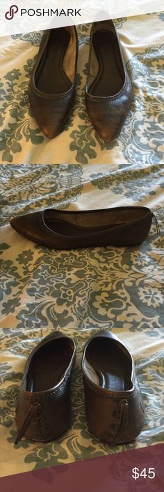 Frye brown leather flat Only worn 2 times...just never fit me right. Frye Shoes Flats & Loafers