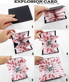 Valentine's Day Explosion Card (Balzer Designs) Just in time for Valentines Day, a super easy card to make and give! It explodes with love! Mothers Day Cards, Valentine Day Cards, Kirigami, Pop Up Cards, Cute Cards, Tarjetas Diy, Fancy Fold Cards, Folded Cards, Card Tutorials
