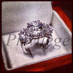3 Carat Round Cut Diamond Three Stone Vintage by PrivilegeJewelry, $489.00