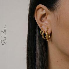 Eline Rosina | Earspiration | Gold | Earparty | Earcandy | Earrings | Ear studs | Hoops | Golden earrings | Golden hoops | Bali hoops | Double dots hoops | Oorbellen | Goud | Bali oorbellen |