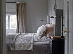 Villa Slemdal — Corniche Interior Design  Lum'art lamp Nemo collection Brushed nickel finish French Countryside, Villa, Indoor, Couch, Curtains, Interior Design, Bedrooms, Furniture, Home Decor