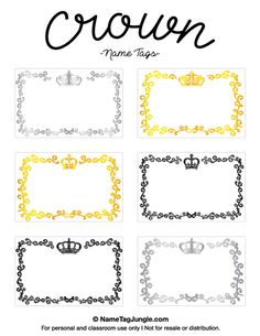 Free printable crown name tags. The template can also be used for creating items…