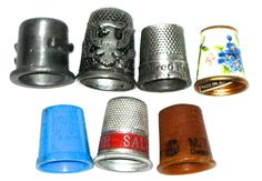 Vintage lot of 7 thimbles plastic metal enamel advertising Knotts Berry Farm M F A oil Worcester Salt by sweetalicelovesyou on Etsy