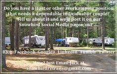 Where to Find Open Current Workamping Host and Campground Jobs for Rvers in the USA and Canada Travel Trailer Camping, Camping List, Truck Camping, Camping Guide, Camping World, Rv Travel, Camping Hacks, Camping Ideas, Rv Homes
