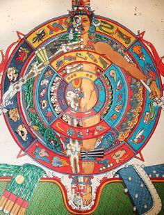 Aztec Symbols, Mexican Art Tattoos, Fantasy World Map, Hispanic Art, Aztec Culture, Eagle Art, Thangka Painting, Wheel Of Life, Aztec Art