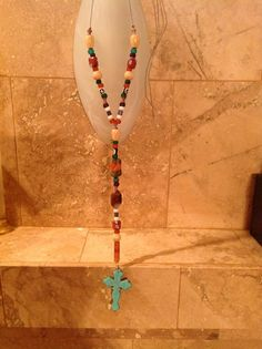 Colorful beaded necklace & turquoise cross $45 Tassel Necklace, Jewelry Making, Collections, Colorful, Turquoise, Purses, Handmade, Fashion, Handbags