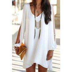 Vestido de Gasa Manga Larga Cuello V-Blanco