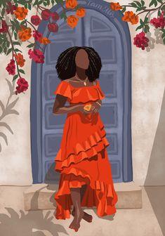 Black Art Painting, Black Artwork, Cave Painting, Watercolor Painting, African American Art, African Art, Black Girl Art, Art Girl, Female Art