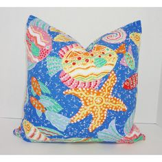 Fun Nautical Ocean Seahorse Fish Print Pillow Cover Decorative Blue &... ($17) ❤ liked on Polyvore featuring home, home decor, throw pillows, decorative pillows, home & living, home décor, silver, pink accent pillows, sea home decor and nautical theme home decor