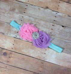 Tutti Fruity Pink, Lavender and Aqua Headband - Newborn Headband - Infant Headband - Toddler Headband - Chevron Headband - Photography Prop on Etsy, $6.50