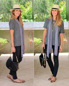 Straw Fedora Outfit - Grey tee, black pants, leopard shoe