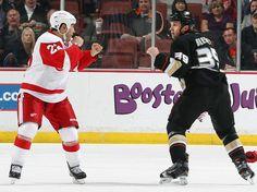 Jordin Tootoo squares off against Matt Beleskey of the Anaheim Ducks.