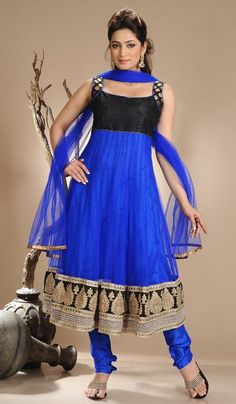 G3 fashions Black Royal Blue Net Wedding Wear Designer Salwar Suit  Product Code : G3-LSA104668 Price : INR RS 5062