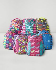Garnet Hill Kids' Backpack Jr. -  Great website with adorable backpacks for those little preschoolers! I've had a hard time finding one that is big enough to fit a standard two-pocket folder, and one small enough it doesn't tip her over! These seem just right, and reviews are raving about quality!