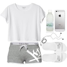 White cropped tee, Calvin Klein boy shorts, white Nike slides, gray short shorts