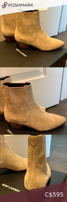Saint Laurent boots Saint Laurent suede boots West 45 Chelsea boots Beige New in box Size 6 Made in Italy 2 inch wood block heel Leather sole 1200$ + tax Saint Laurent Shoes Ankle Boots & Booties Fringe Booties, Lace Up Booties, Suede Ankle Boots, Suede Booties, Leather Boots, Bootie Boots, Saint Laurent Boots, Boots 2017, Desert Boots