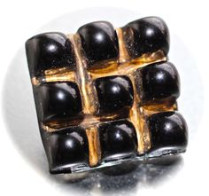 Button / Glass Black / Bimini / Square / Pressed / Vintage / Medium by KPHoppe on Etsy