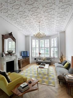 19 Popular Interior Design Styles In 22 Most Popular Ceiling Texture Types Ideas & Inspiration London Living Room, Cozy Living Rooms, Living Spaces, Room London, Ceiling Decor, Ceiling Design, Ceiling Windows, Ceiling Texture Types, Rug Texture