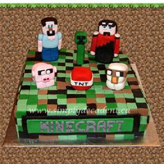 Fondant Minecraft Birthday Cake With 3D Figures (Steve, Creeper, Red Black Assasin, Pig, Tnt, Sheep) on Cake Central