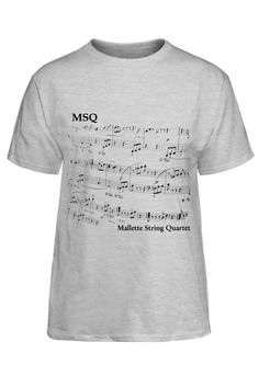 Mallette String Quartet t-shirt with sheet music and logo for music lovers.