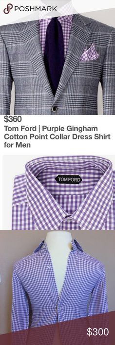 Tom Ford Men's Gingham Button Down Shirt M Tom Ford the color is Lavender/Light Purple Size 39/15.5 worn once, no stains, no rips, EXCELLENT Condition. Tom Ford washed gingham shirt. High-point collar; button front. Mitered barrel cuffs. Classic fit. Shirttail hem. Cotton; dry clean. Made in Italy. About Tom Ford: Tom Ford is one of the most celebrated American designers of his era. He launched the TOM FORD brand in 2005 with a mission to redefine modern luxury for the 21st century. Tom Ford…