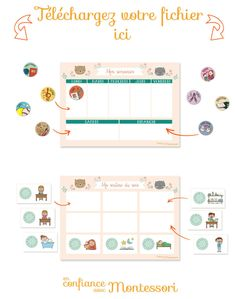 A week and an evening routine to be well organized: PRINTABLES, Home Activities Home Activities, Montessori Activities, Make Your Own Game, Autism Education, Evening Routine, Behaviour Chart, Wishes For Baby, Super Mom, Home Schooling